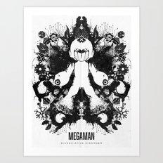 Megaman Geek Ink Blot Te… Art Print