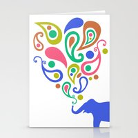 Multi-Colored Paisley Elephant Pattern Design Stationery Cards