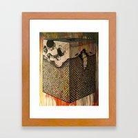 Sad Cubed Fish Skull Framed Art Print
