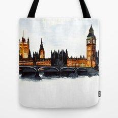 London, Big Ben, parliament, Watercolour Tote Bag