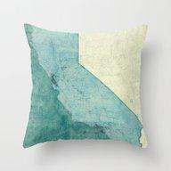 California Map Blue Vint… Throw Pillow