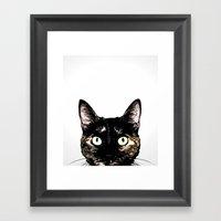 Peeking Cat Framed Art Print