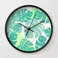 Linocut Monstera Green Wall Clock