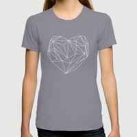 Heart Graphic Womens Fitted Tee Slate SMALL