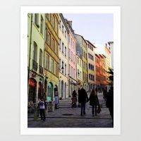 City Walking Lovers Art Print