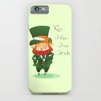 iPhone Cases featuring Kiss Me I'm Irish with cute chibi cartoon Leprecha by Jera RS