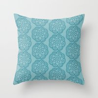 Floral mix blue lace Throw Pillow