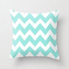 Chevron 4 Tiffany Blue Throw Pillow