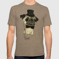 Pug (gentle Pug). Mens Fitted Tee Tri-Coffee SMALL