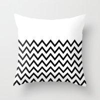Black Chevron On White Throw Pillow