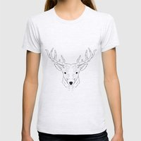 Deer Lines Womens Fitted Tee Ash Grey SMALL