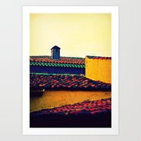 Red Tile Roof Art Print