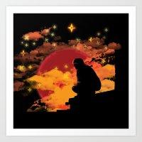 NINJA NIGHT SHOWDOWN Art Print