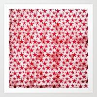 Red stars on grunge textured white background  Art Print