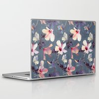 cow Laptop & iPad Skins featuring Butterflies and Hibiscus Flowers - a painted pattern by micklyn