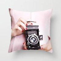 Vintage Camera Love Throw Pillow