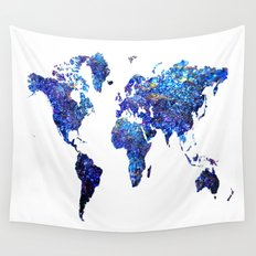 World Map blue purple Wall Tapestry