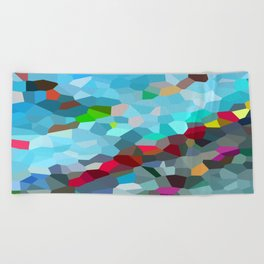 Beach Towel - Swimming Pool Abstract Geometric - wtfineart