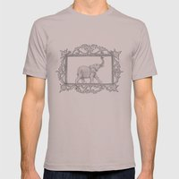 Grey Frame With Elephant Mens Fitted Tee Cinder SMALL