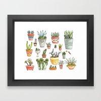 Potted Succulents Framed Art Print