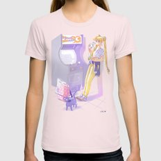 90s Sailormoon Womens Fitted Tee Light Pink SMALL