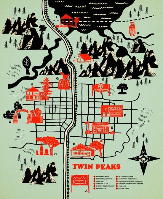 Twin Peaks Map Canvas Print