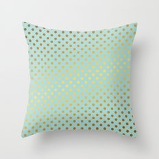 Mint and Gold Dots Pattern Throw Pillow