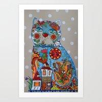 Cat and cock Art Print