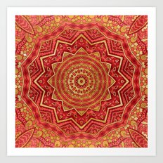 Ruby Red Mandala Art Print