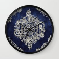 Cream Floral Moroccan Pattern on Deep Indigo Ink Wall Clock