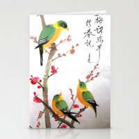 green bird chatting Stationery Cards