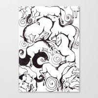 B&W Horse Pattern Canvas Print