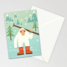 Yeti skieur Stationery Cards