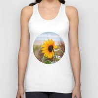 Sunflower near ocean Unisex Tank Top