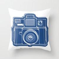 I Still Shoot Film Holga Logo - Blue Throw Pillow