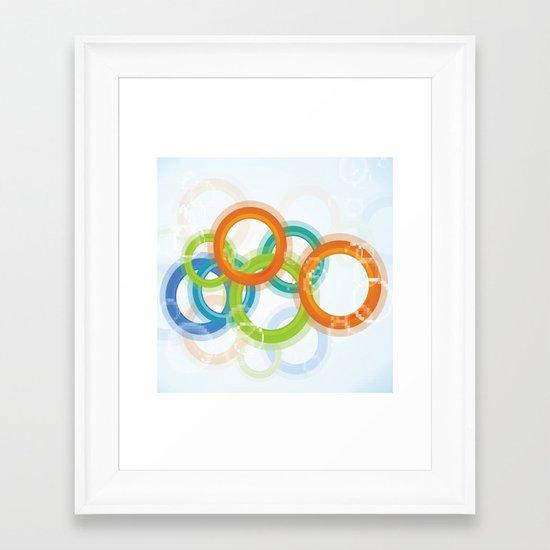 Digital Geometric Circles Framed Art Print