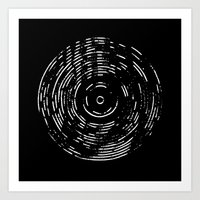 Record White On Black Art Print