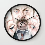 Wall Clock featuring Swanson Mustache by Olechka