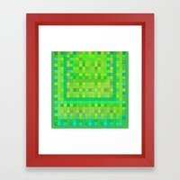 Wild Green Blocks and Dots Framed Art Print
