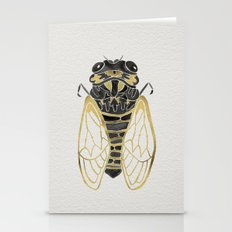 Cicada – Black & Gold Stationery Cards