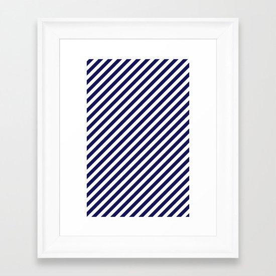 Classic Stripes in Navy + White Framed Art Print