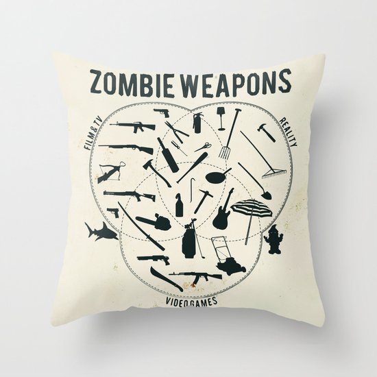Zombie weapons Throw Pillow