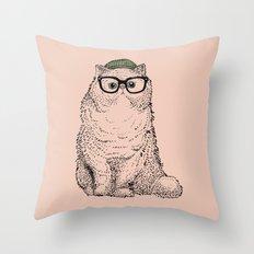 Hipster Persian Cat Throw Pillow