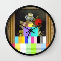 A Painting of Flowers With Color Bars Wall Clock