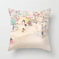 Beach Crowd Throw Pillow