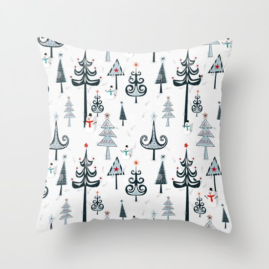 Christmas Tree Forest Throw Pillow