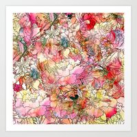 Summer Flowers | Colorful Watercolor Floral Pattern Abstract Sketch Art Print
