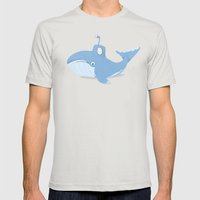 Whale Sub Mens Fitted Tee Silver SMALL