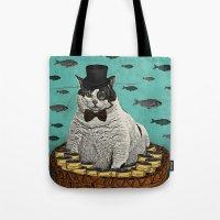 Fat Cat Print Tote Bag