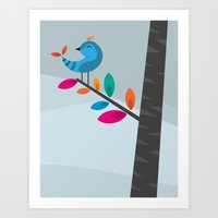 Art Print featuring Blue Bird by Volkan Dalyan